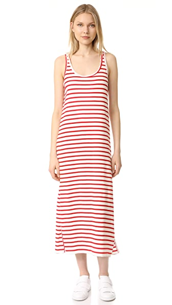 Petit Bateau Iconic Striped Tank Dress In Lait/Peps