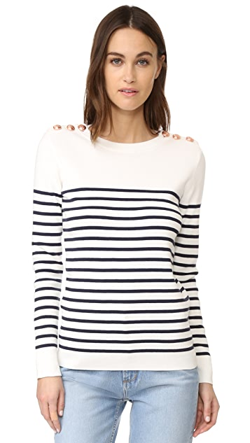 Petit Bateau Striped Button Embellished Sweater