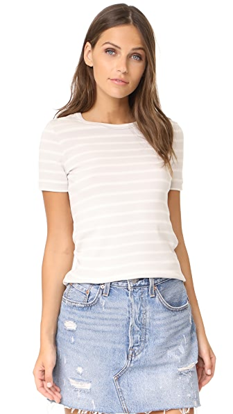Petit Bateau 1x1 Iconic Striped Tee In Neutre/Coquille