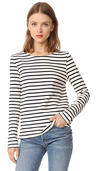 Petit Bateau Leny Long Sleeve Striped Tee - Coquille/Smoking