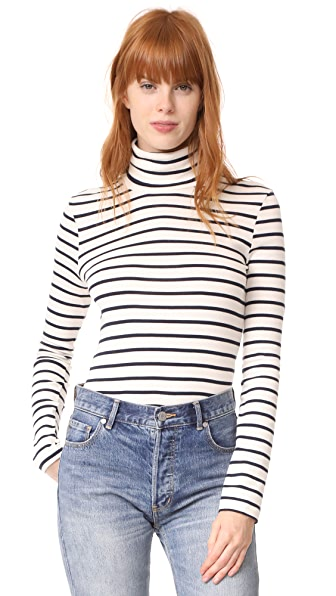 Petit Bateau 1x1 Iconic Striped Turtleneck - Coquille/Smoking