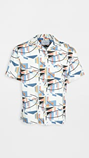 Portuguese Flannel Geometry Short Sleeve Button Down Shirt