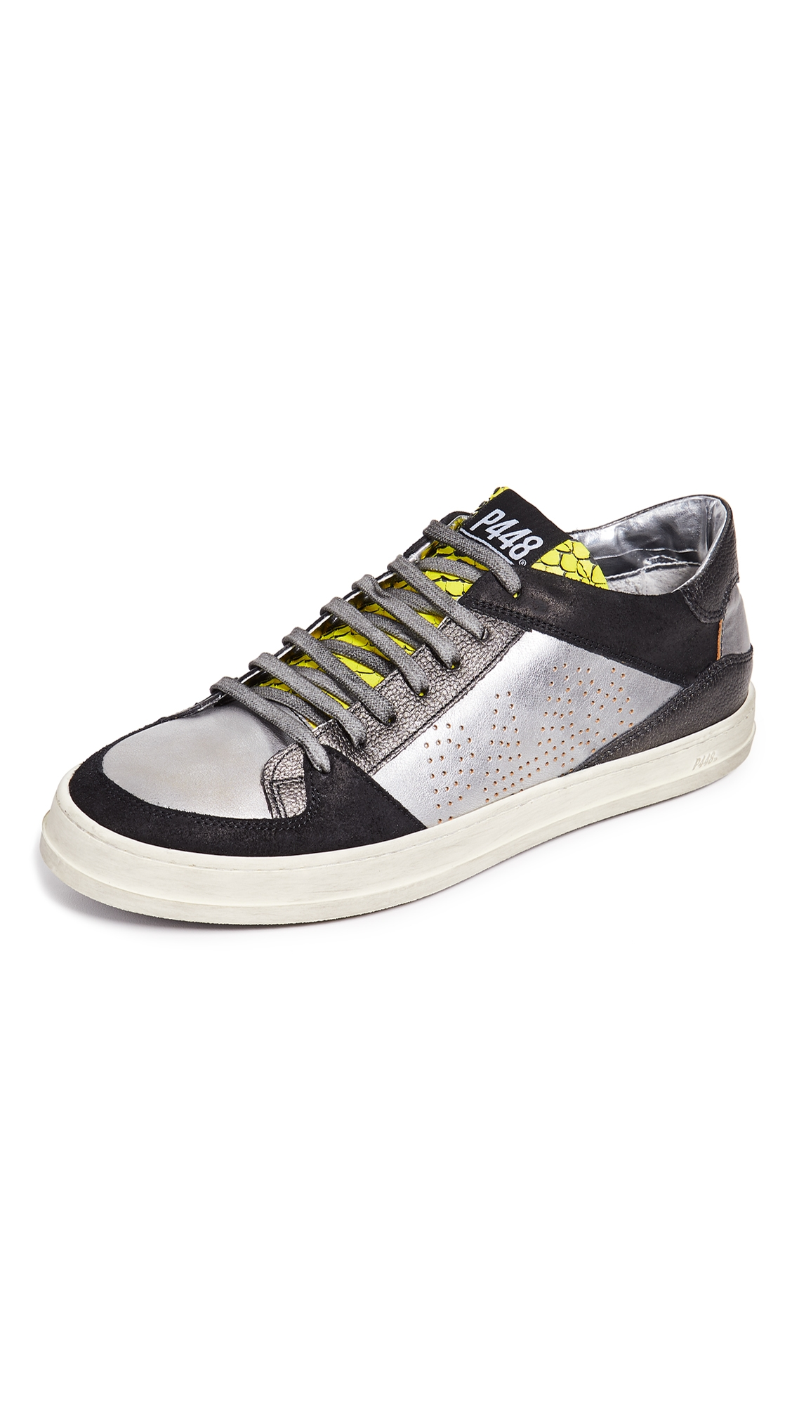P448 LOW TOP SNEAKERS WITH METALLIC ACCENTS