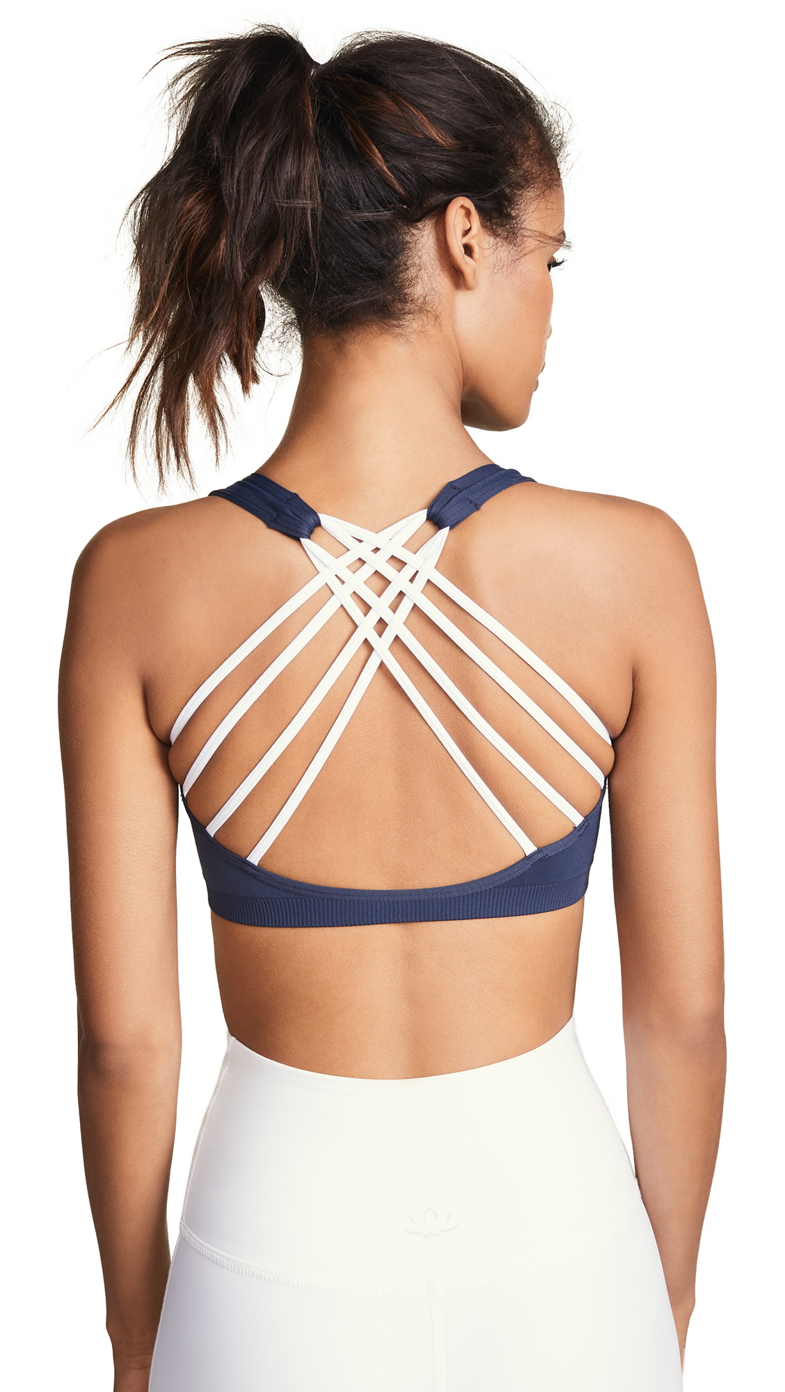 PHAT BUDDHA Park Ave Sports Bra in Outer Space/Bright White Strap