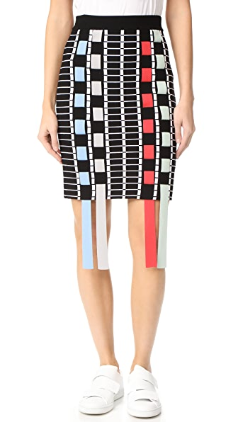 Phelan Fringe Skirt In Black/Lipstick Multi