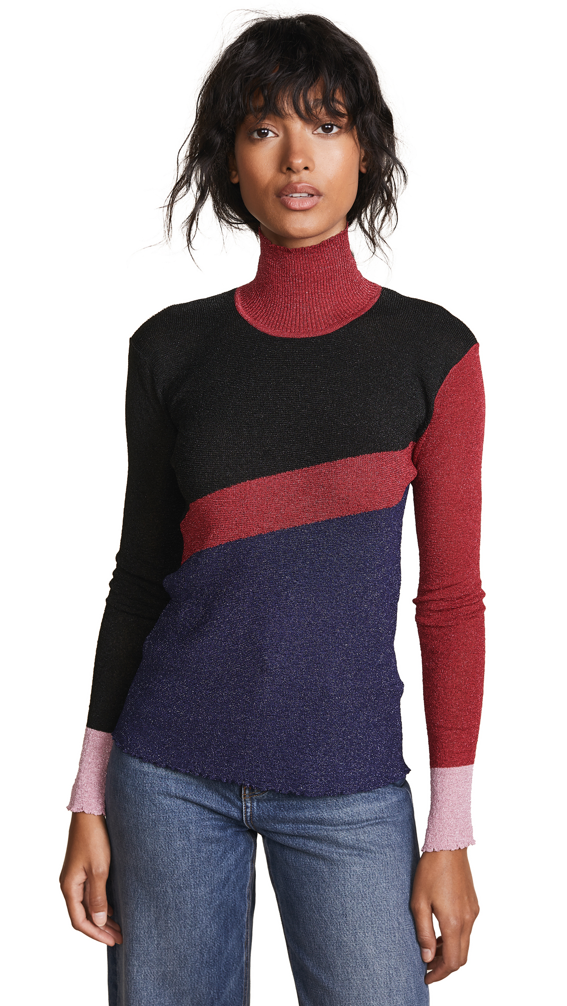 PH5 Chad Metallic Turtleneck Top in Maroon/Blue