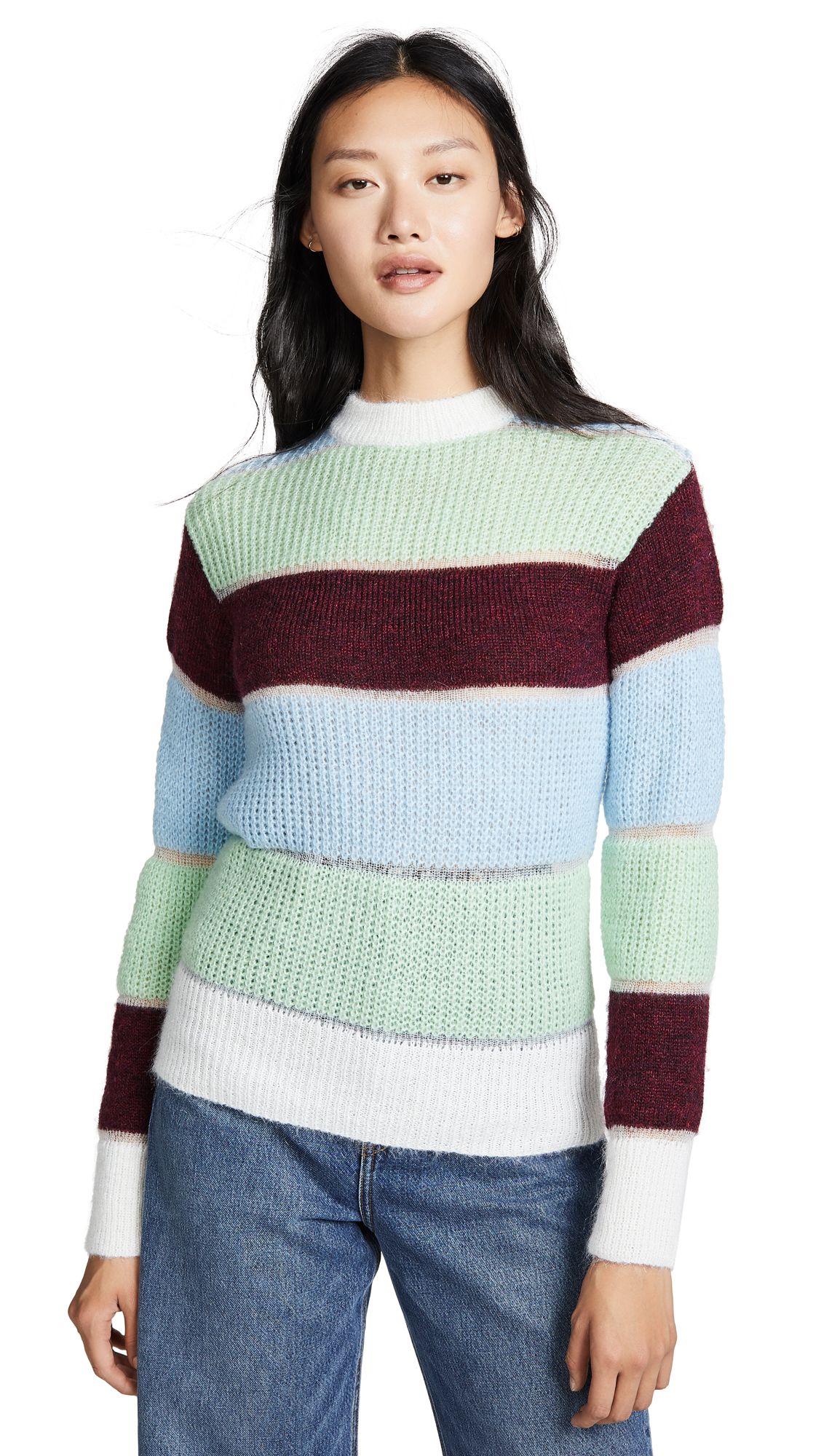PH5 Massimo Mohair Color Blocked Pullover in Mint/Maroon/Multi