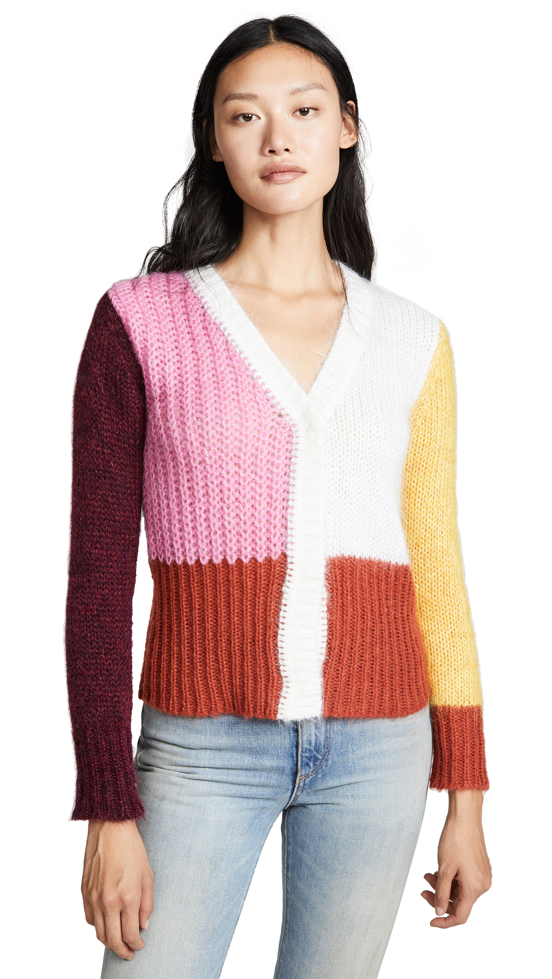 PH5 Andrea Mohair Colorblocked Cardigan in Pink/Yellow/Multi