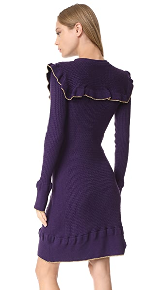 PHILOSOPHY DI LORENZO SERAFINI Embroidered Virgin Wool Sweaterdress in Violet