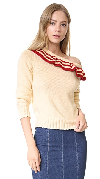 Philosophy di Lorenzo Serafini Ruffle Pullover In Cream/Red