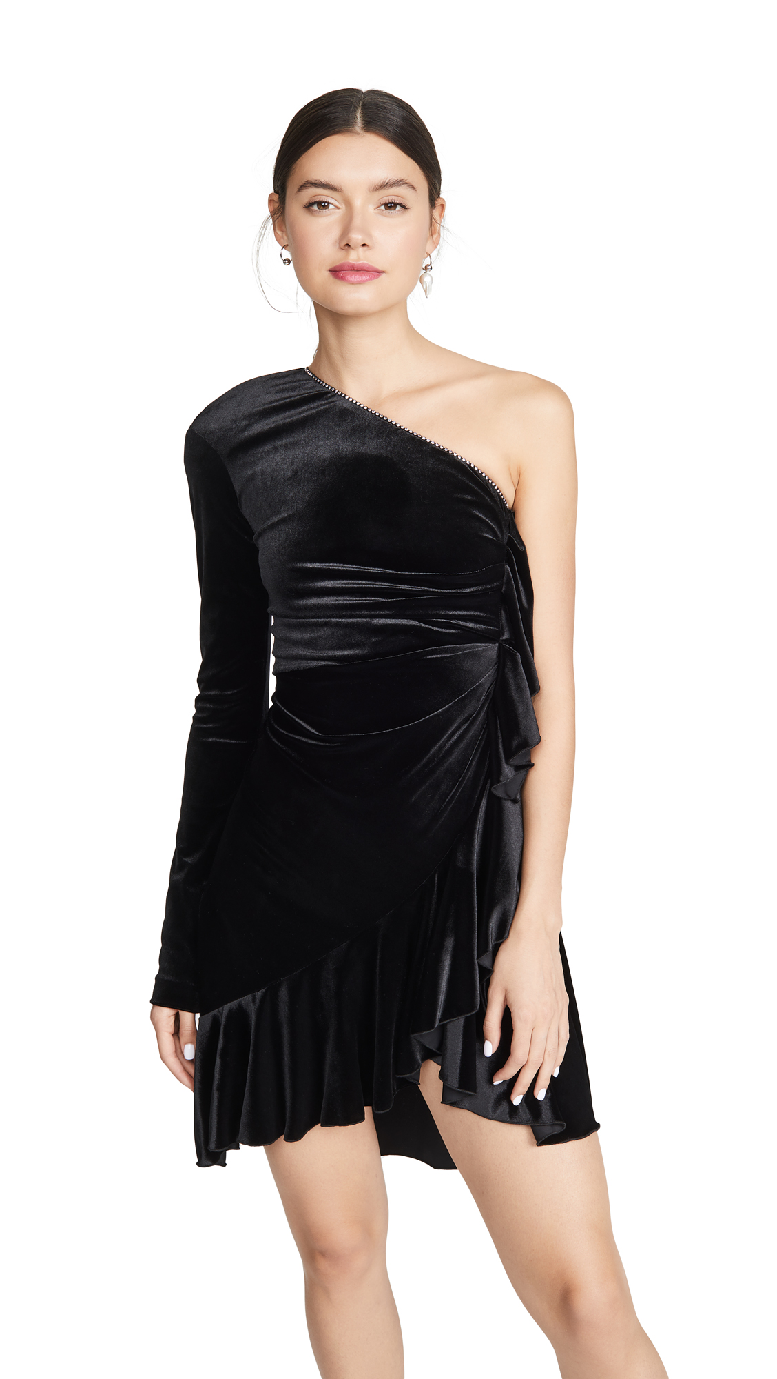 Buy Philosophy di Lorenzo Serafini online - photo of Philosophy di Lorenzo Serafini One Shoulder Velvet Mini Dress