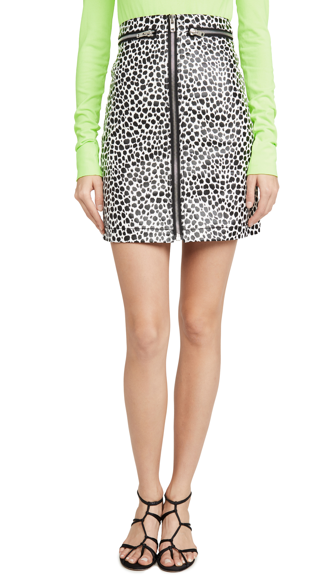 Buy Philosophy di Lorenzo Serafini online - photo of Philosophy di Lorenzo Serafini Leopard Skirt with Zipper Detail