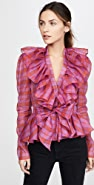 Philosophy di Lorenzo Serafini Deep V Neck Checked Organza Blouse