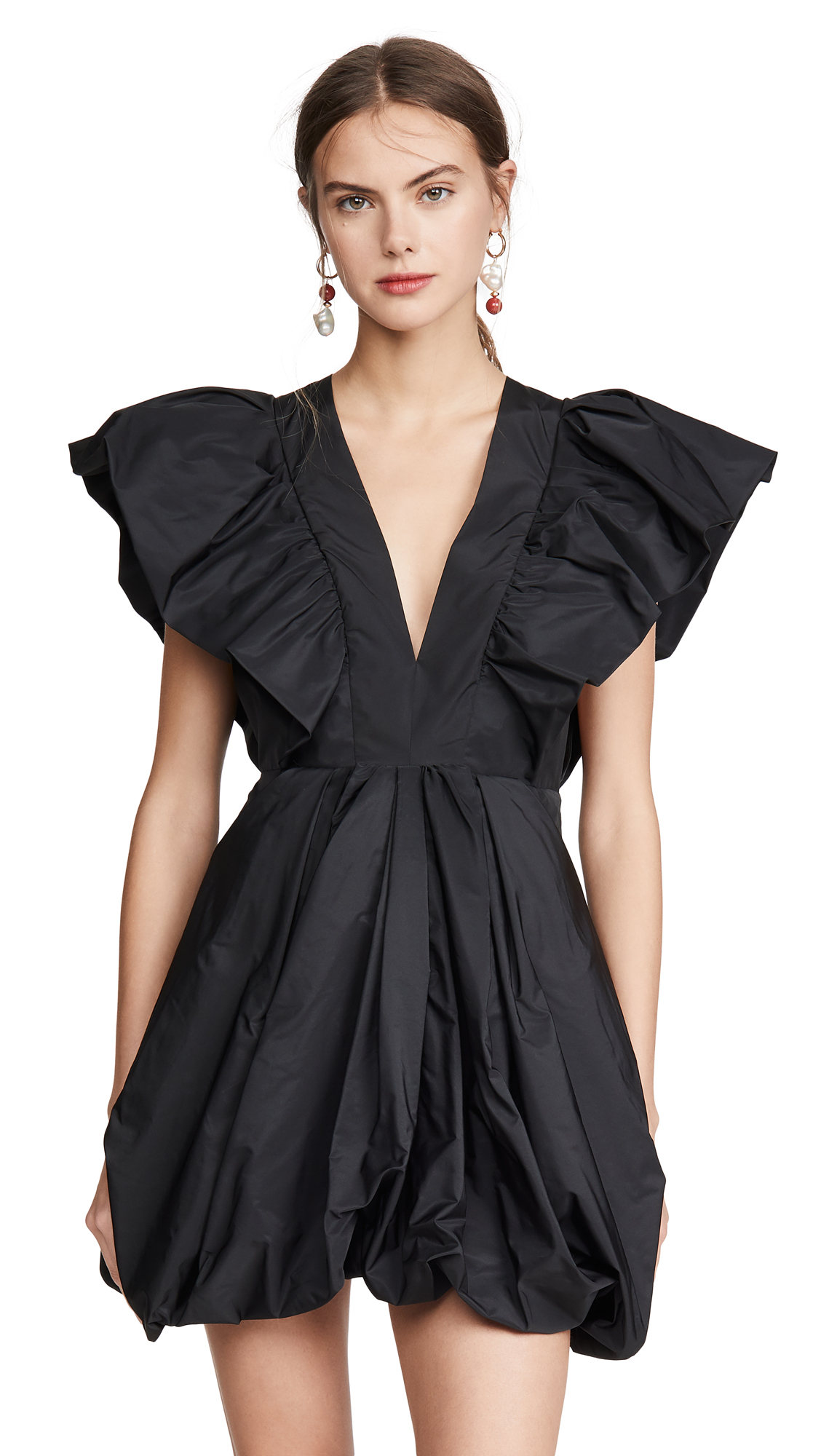 Philosophy di Lorenzo Serafini V Neck Mini Dress with Exaggerated Shoulders - 30% Off Sale