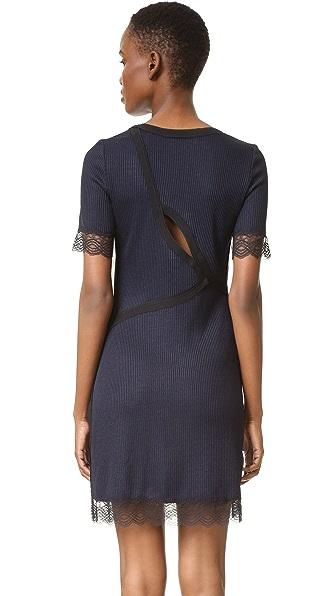 3.1 Phillip Lim Рубчатое платье с кружевом и фигурным вырезом на спине