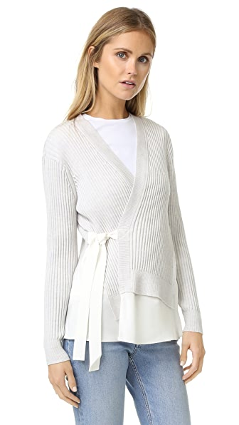 3.1 Phillip Lim Long Sleeve Silk Combo Cardigan - Antique White at Shopbop
