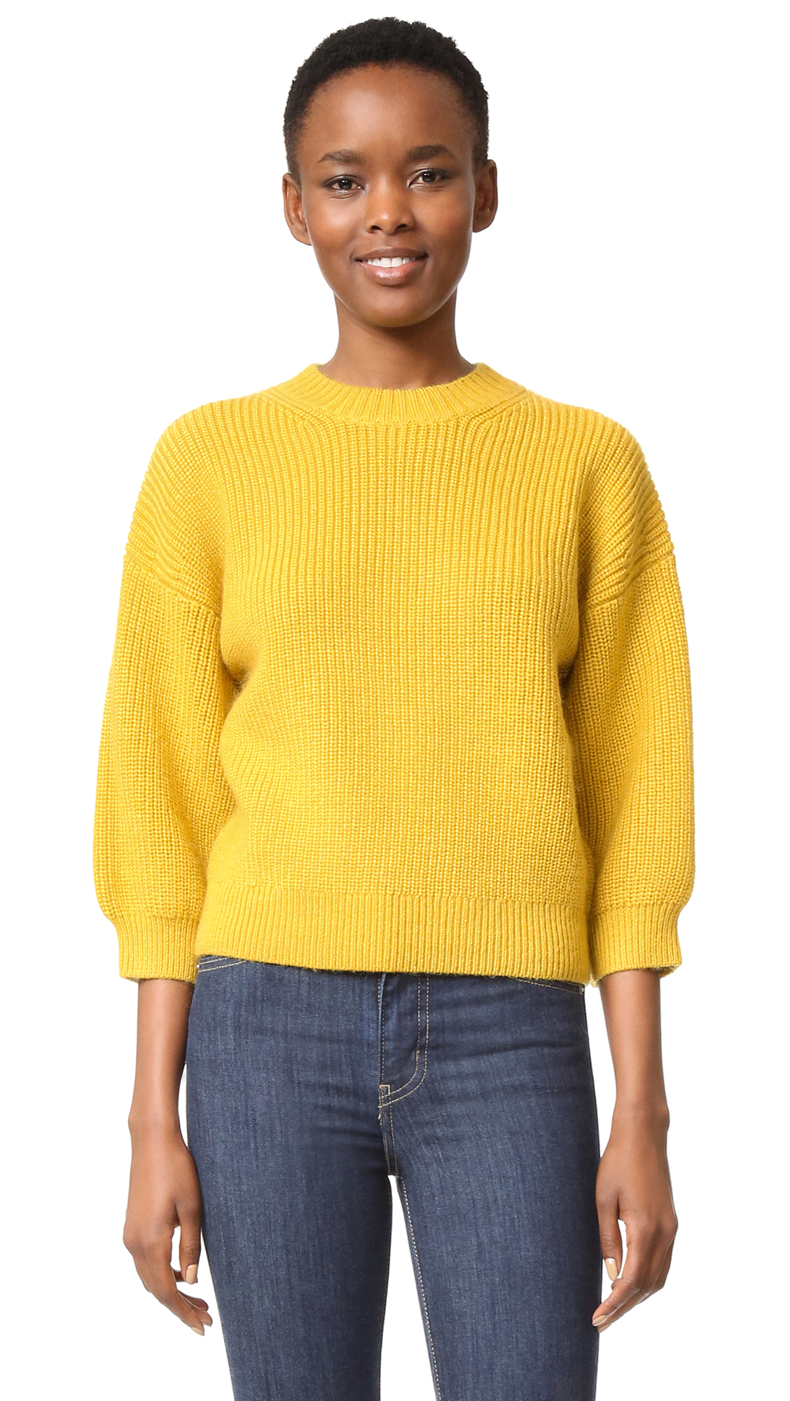 A saturated, rich hue gives this 3.1 Phillip Lim sweater a cozy, chic finish. Slim cuffs cinch the elbow length sleeves. High neckline. Fabric: Thick, ribbed knit. 73% wool/17% mohair/9% polyester/1% elastane. Hand wash or dry clean. Imported,