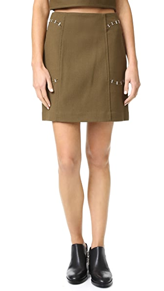 3.1 Phillip Lim Skirt With Stapled Pockets - Dark Moss at Shopbop