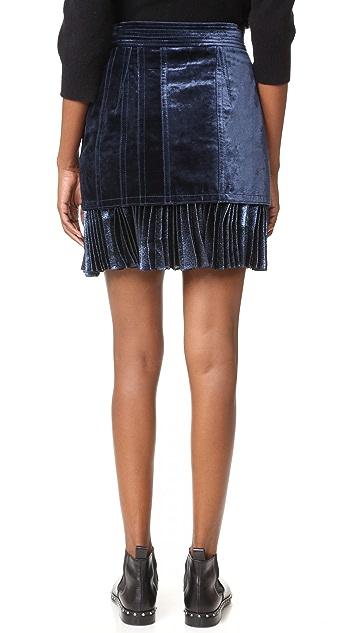 3.1 Phillip Lim Sculpted Velvet Skirt with Pleated Hem