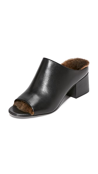 3.1 Phillip Lim Cube Fur Mules - Natural/Black