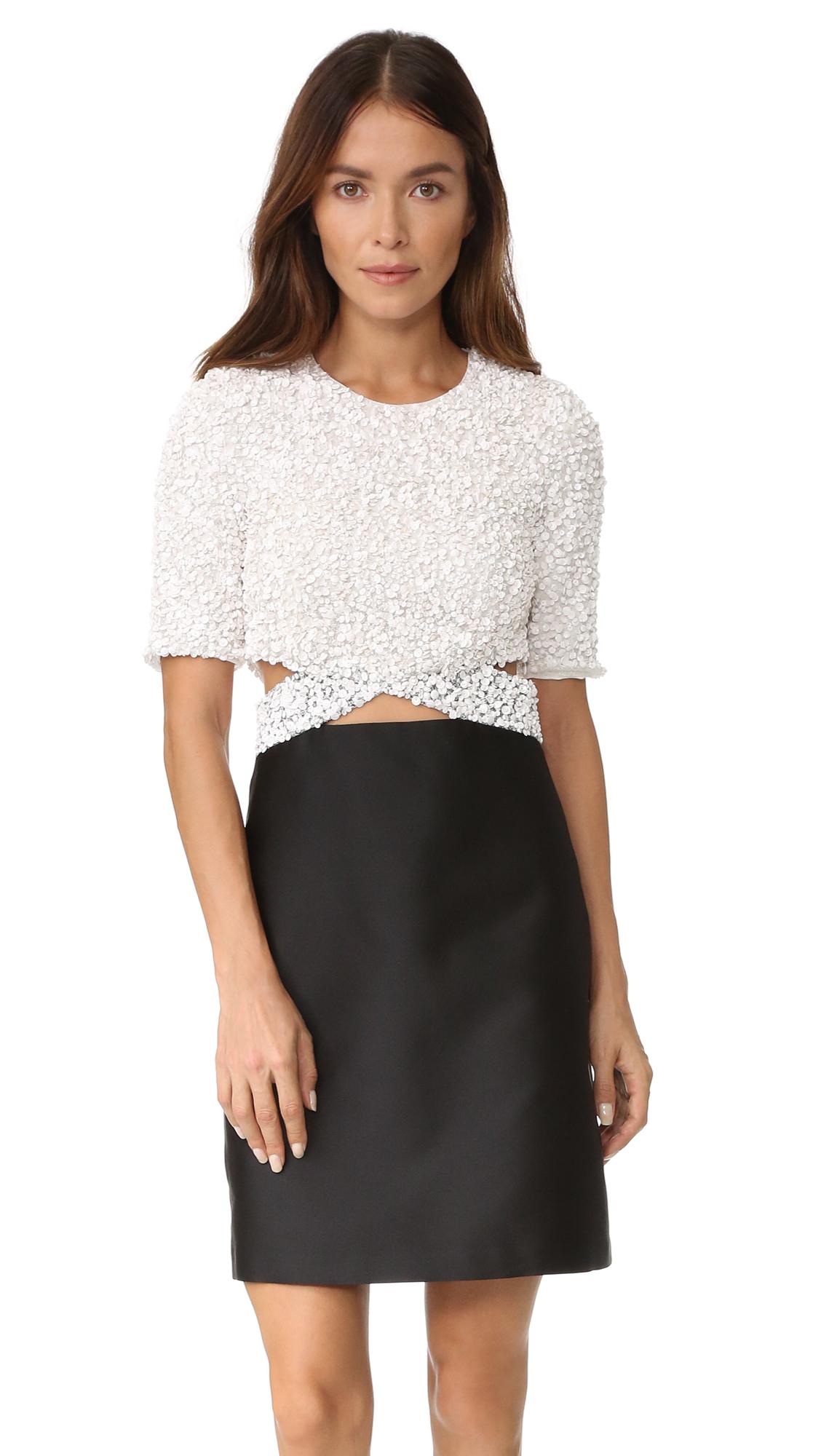 3.1 Phillip Lim Short Sleeve Cluster Sequin Dress - White