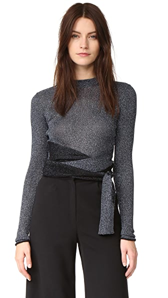 3.1 Phillip Lim Long Sleeve Metallic Tie Pullover