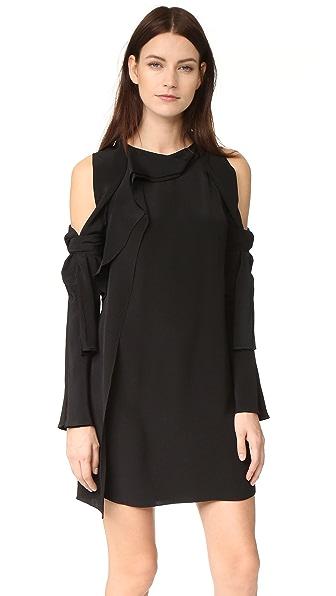 3.1 Phillip Lim Платье с длинными рукавами и открытыми плечами