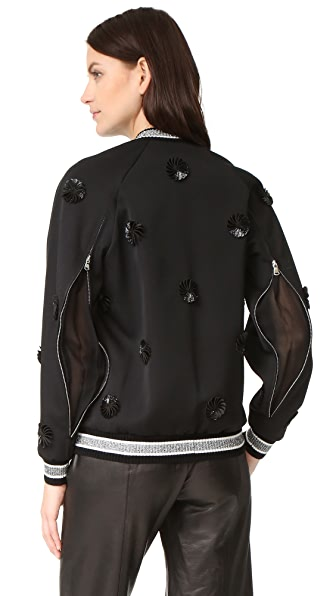 3.1 Phillip Lim Long Sleeve Embroidered Bomber Jacket - Black