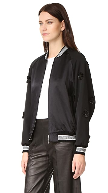 3.1 Phillip Lim Long Sleeve Embroidered Bomber Jacket