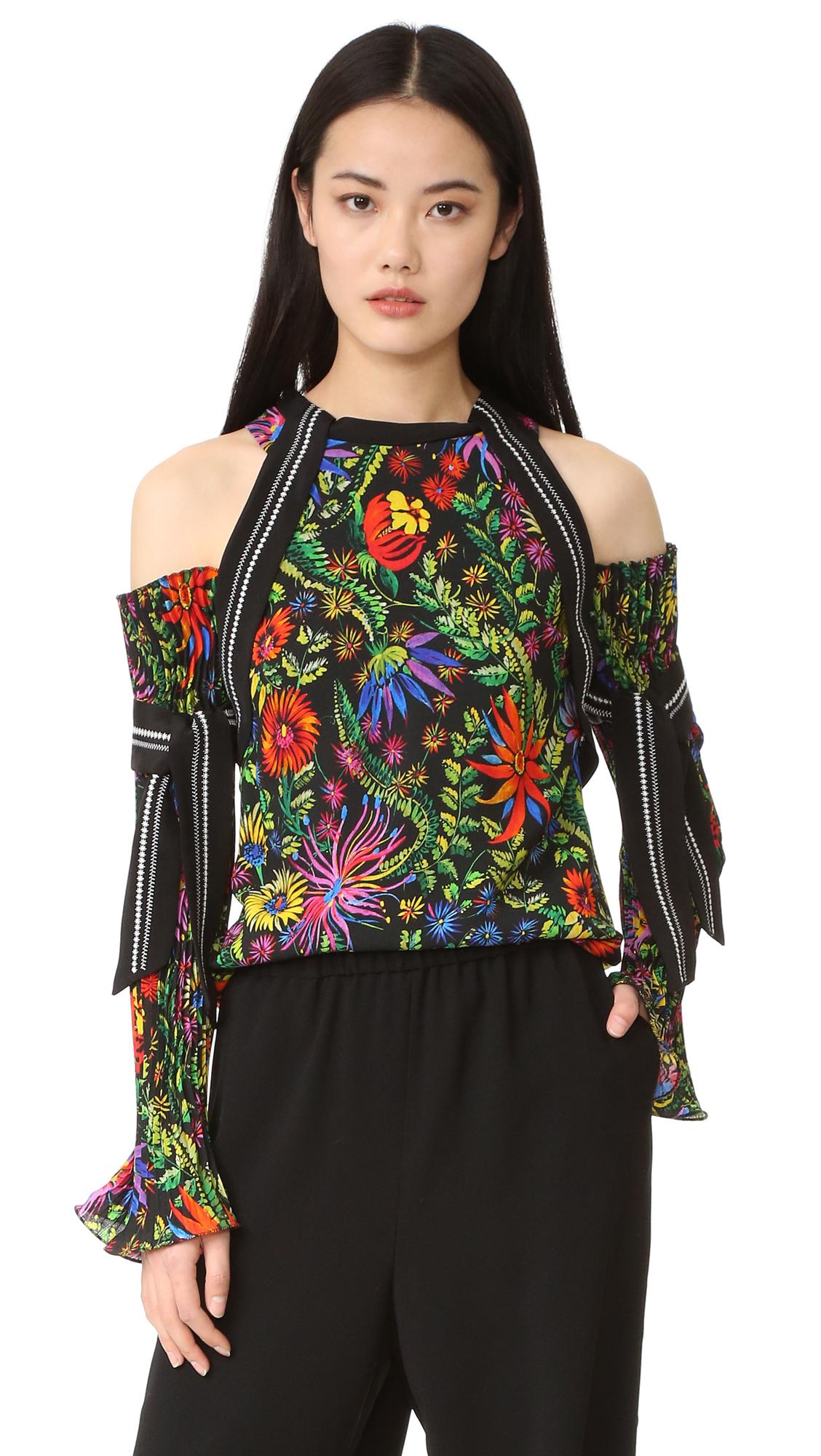 3.1 Phillip Lim Floral Cold Shoulder Blouse - Black Multi at Shopbop