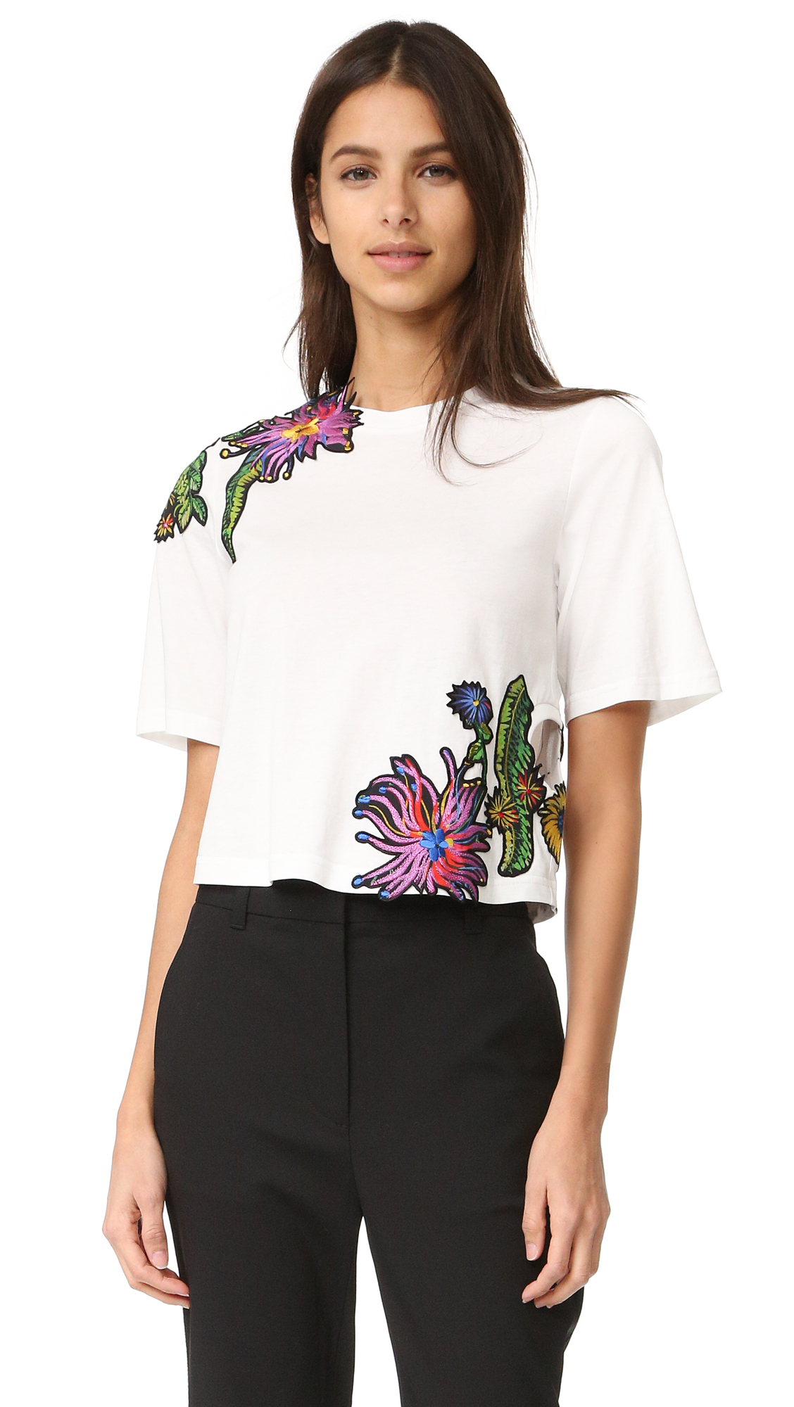 3.1 Phillip Lim Floral Embroidered Tee - Antique White at Shopbop