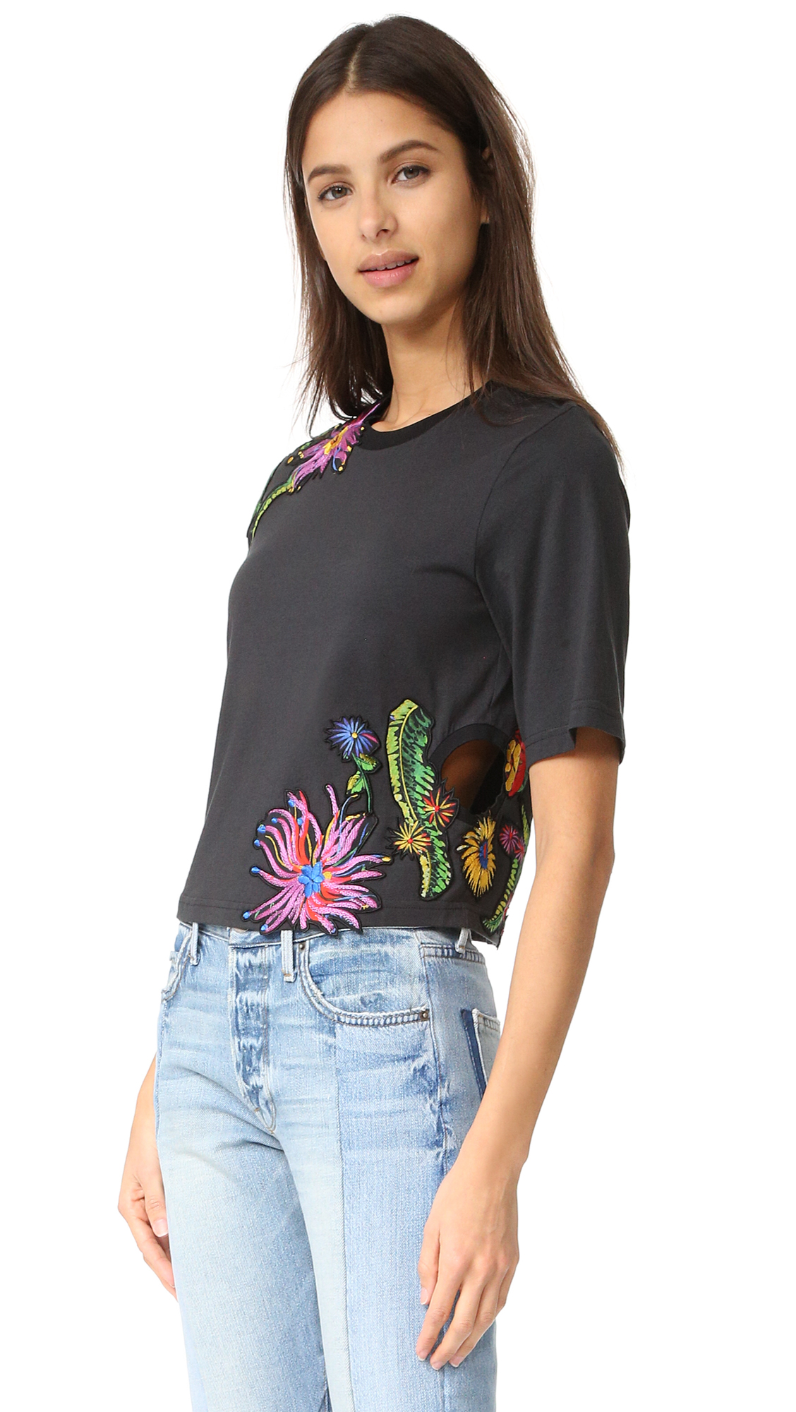 3.1 Phillip Lim Floral Embroidered Tee - Soft Black at Shopbop