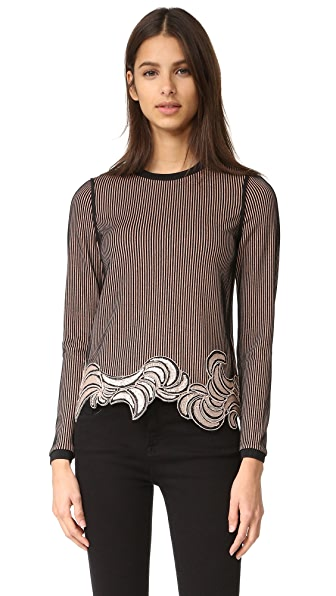 3.1 Phillip Lim Long Sleeve Embroidered Crop Top at Shopbop