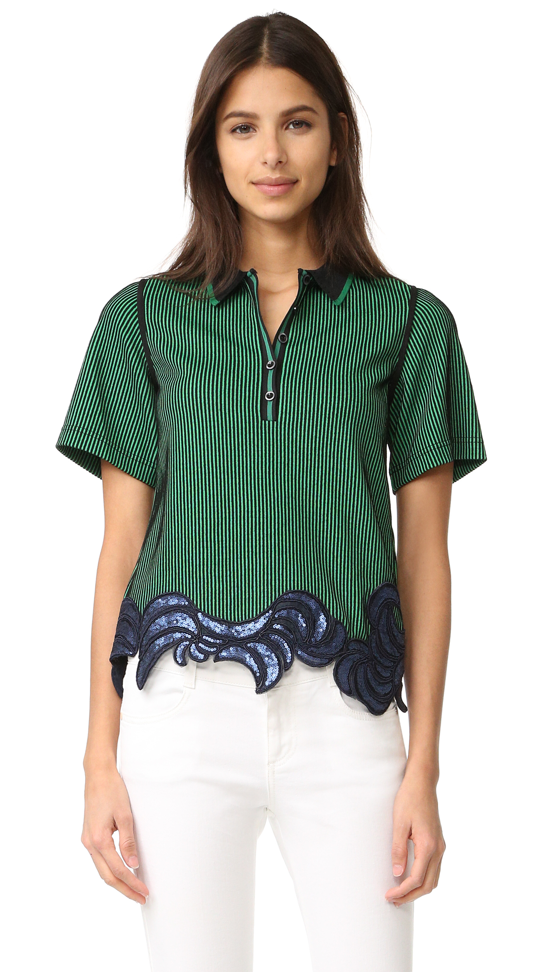 3.1 Phillip Lim Embroidered Polo Tee - Green Black at Shopbop