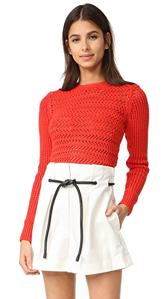 3.1 Phillip Lim Long Sleeve Crochet Pullover - Poppy