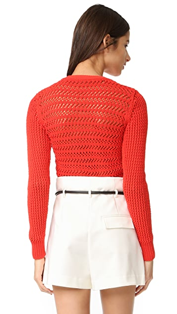 3.1 Phillip Lim Long Sleeve Crochet Pullover