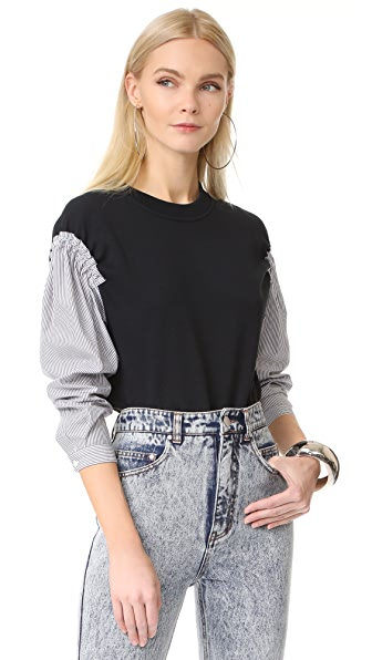 3.1 Phillip Lim French Terry Combo Top - Soft Black