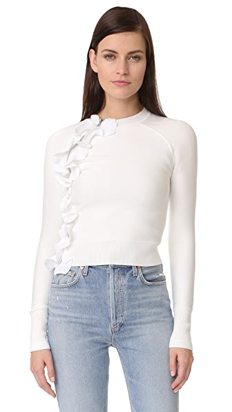 3.1 Phillip Lim Ruffle Sport Pullover with Zippers - White