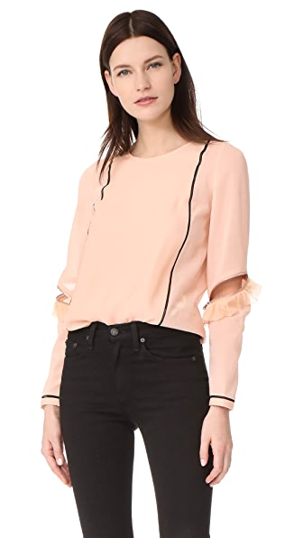 3.1 Phillip Lim Top with Ruffle & Zip Sleeves - Moonstone