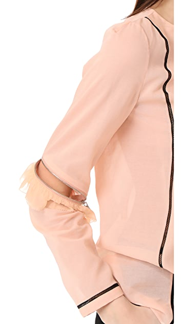 3.1 Phillip Lim Top with Ruffle & Zip Sleeves