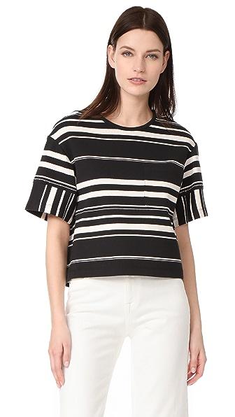 3.1 Phillip Lim Полосатая футболка из трикотажа комбинированного плетения