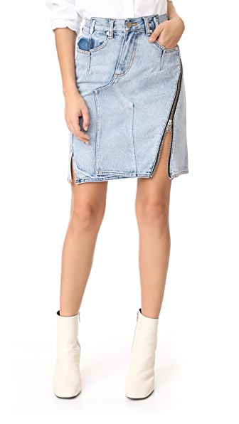 3.1 Phillip Lim Denim Asymmetrical Skirt with Zipper - Indigo