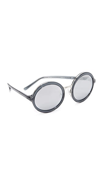 3.1 Phillip Lim Round Mirror Sunglasses - Black/Silver