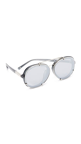 3.1 Phillip Lim Round Aviator Mirrored Sunglasses - Silver/Silver