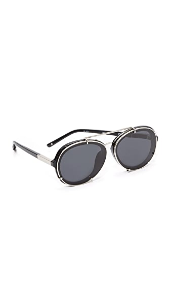 3.1 Phillip Lim Round Aviator Sunglasses - Silver/Bang Bang Black