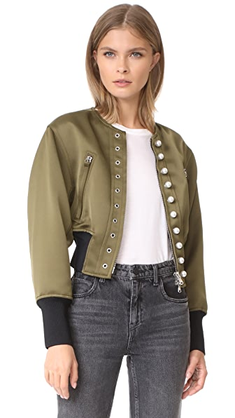 3.1 Phillip Lim Pearly Bomber In Moss