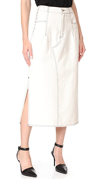 3.1 Phillip Lim Denim Skirt with Lacing - White