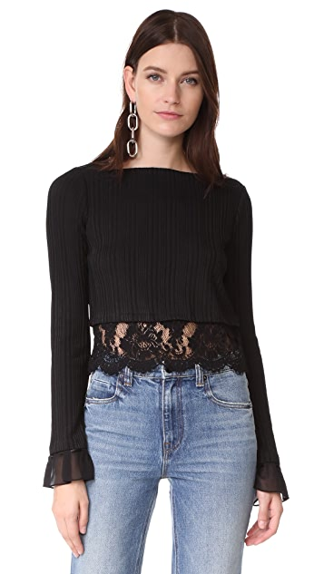 3.1 Phillip Lim Rib Top with Combo Lace