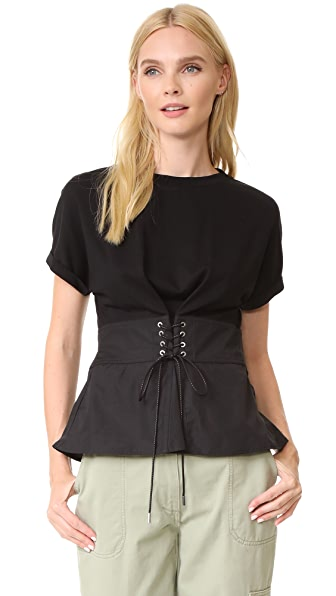 3.1 Phillip Lim Corset Waist Top - Black