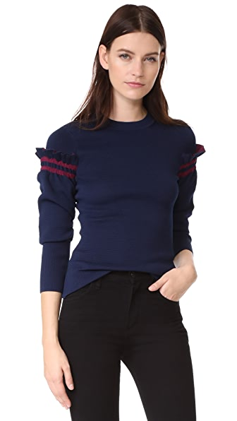 3.1 Phillip Lim Pullover with Ruffle Sleeves In Navy